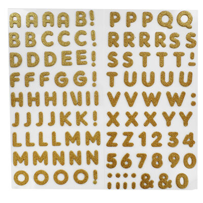 Gold Glitter Letters Thick Christmas Stickers image number 2