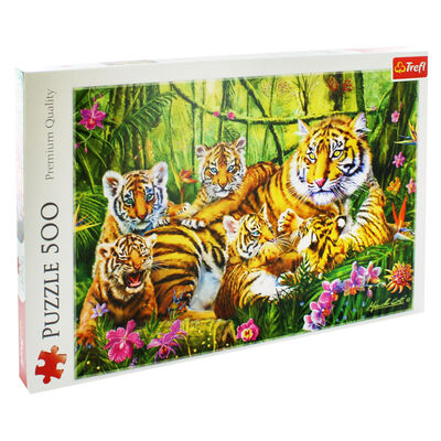 Family of Tigers 500 Piece Jigsaw Puzzle image number 1