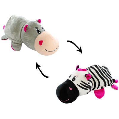 Reversimals 2-in-1 Plush Soft Toy - Zebra and Hippo image number 2