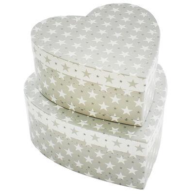 Grey Stars Heart Shaped Storage Box - 2 Pack image number 2