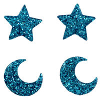 Blue Glitter Star and Moon Embellishments - 4 Pack