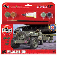 Airfix Willys MB Jeep 1:72 Scale Model Starter Set