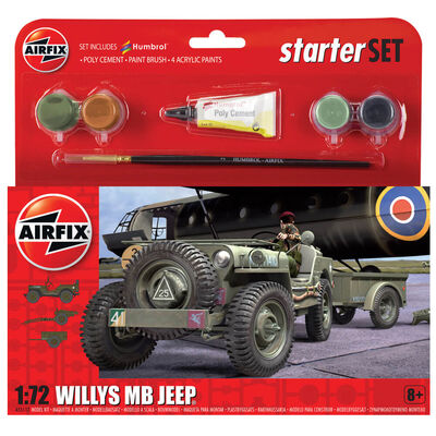 Airfix Willys MB Jeep 1:72 Scale Model Starter Set image number 1