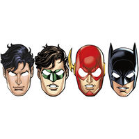 Justice League Paper Party Masks - 8 Pack