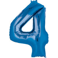 34 Inch Blue Number 4 Helium Balloon