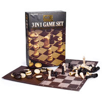 3 In 1 Chess, Draughts and Tic Tac Toe Game Set