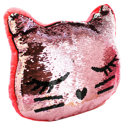 Reversible Sequin Kitten Cushion image number 1
