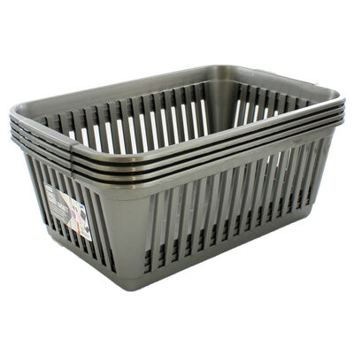 Small Grey Handy Plastic Basket - Set of 4 image number 1