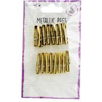 Dovecraft Essentials Metallic Pegs - Gold - 16 Pieces