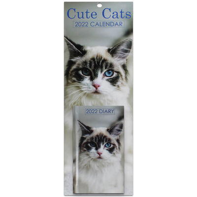Cute Cats 2022 Slim Calendar and Diary Set image number 1