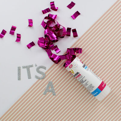 Gender Reveal Confetti Party Popper - Pink image number 3