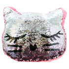 Reversible Sequin Kitten Cushion image number 4