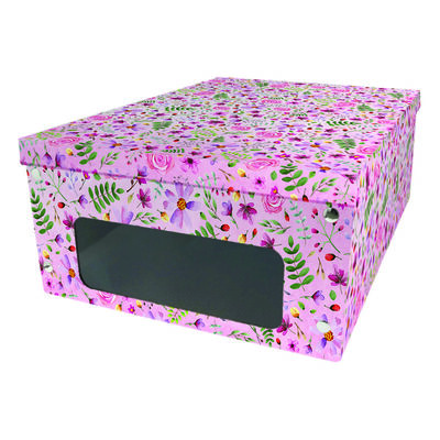 Pink Flower Print Under Bed Collapsible Storage Box image number 1