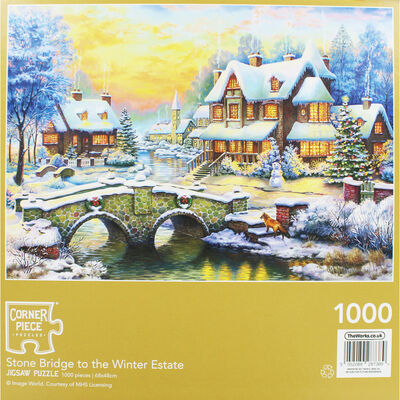 Stone Bridge To The Winter Estate 1000 Piece Jigsaw Puzzle image number 3