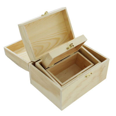 3 Nested Wooden Chest Boxes image number 3