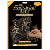 A4 Engraving Art Set: Fox and Cubs