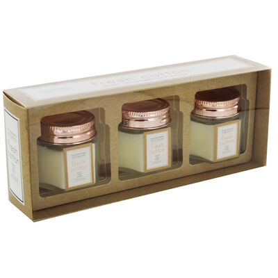 Set of 3 Fresh Cotton Scented Rose Gold Hexagon Candles image number 1