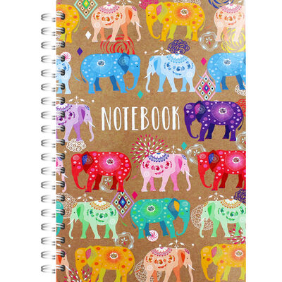 A4 Wiro Colour Elephants Lined Notebook image number 1