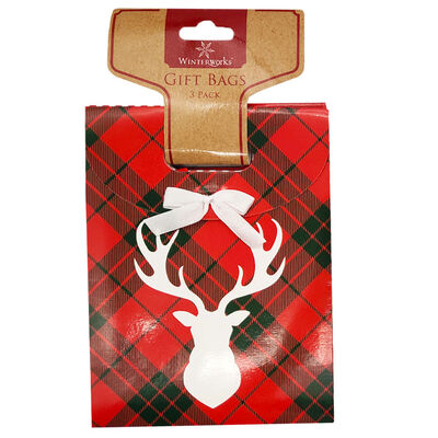Small Christmas Gift Bags: Pack of 3 image number 1