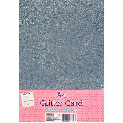 A4 Silver Glitter Card: Pack of 10 image number 1