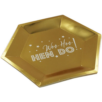 Gold Hen Do Hexagonal Paper Plates - 8 Pack image number 2