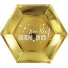 Gold Hen Do Hexagonal Paper Plates - 8 Pack image number 1