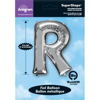 34 Inch Silver Letter R Helium Balloon