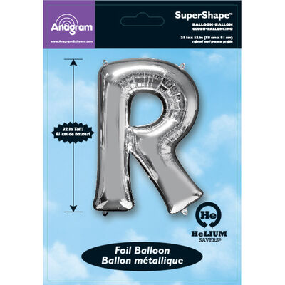 34 Inch Silver Letter R Helium Balloon image number 2
