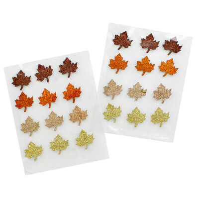 Autumnal Glitter Leaf Shaped Stickers - 2 Packs image number 1