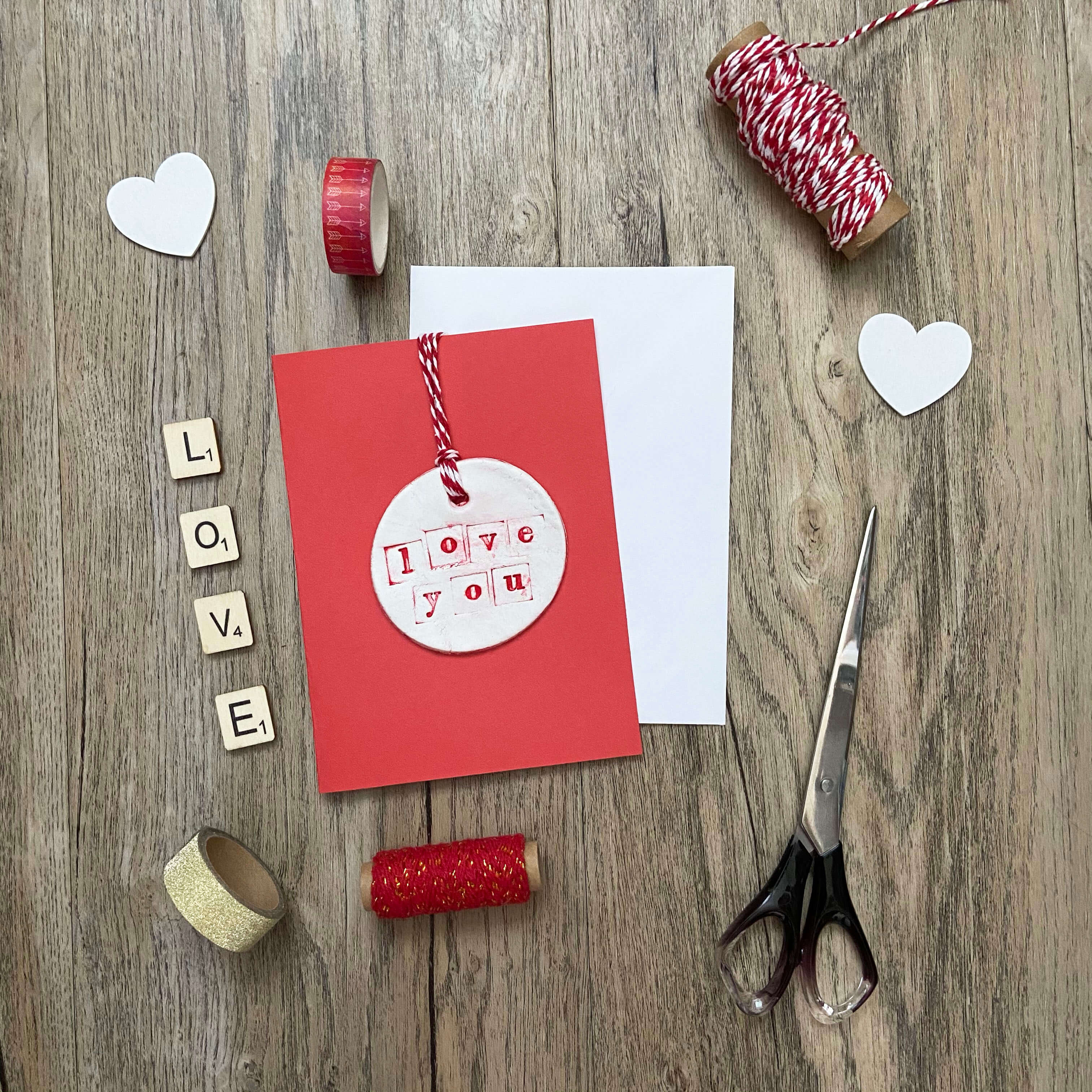 valentines clay tag card