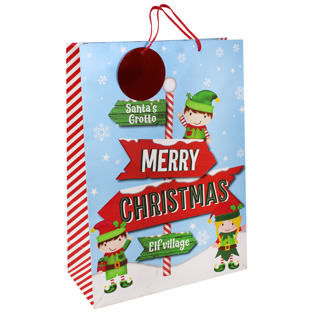 Wide Gusset Elf Text Gift Bag